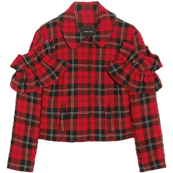 Ruffled tartan seersucker jacket (£179) ❤ liked on Polyvore featuring outerwear, jackets, coats, tartan, tops, plaid jacket, red plaid jackets, simone rocha, seersucker jacket and red jacket