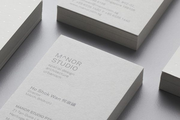 Duplex business card for Singapore-based architectural and spatial design practice Manor Studio created by Manic.