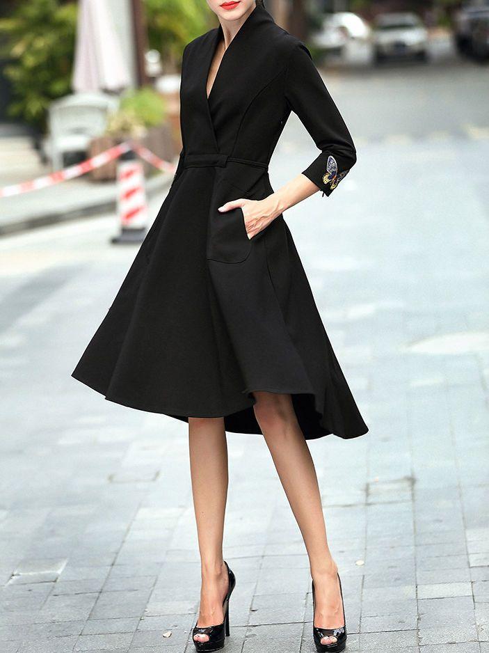 Fashion Designer Embroidered Work Midi Dress - StyleWe.com