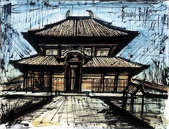 Bernard Buffet - Temple Daibutsu-den - 1981, mixed media on paper - 50 x 65 cm