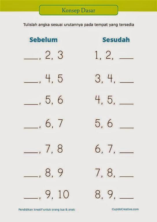 """belajar anak PAUD (TK/SD kelas 1) : konsep dasar tentang """"sesudah"""" dan """"sebelum"""" menggunakan angka"""