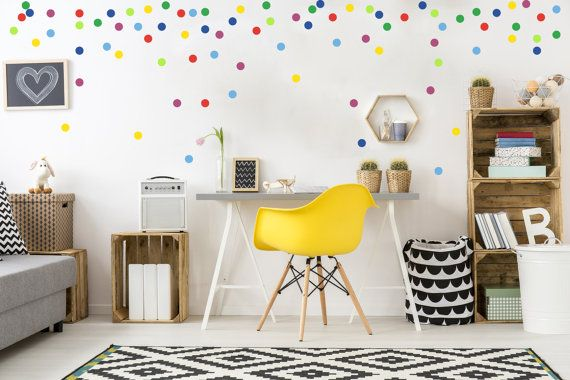 Dot decals- bright palette, peel and stick polka dot wall decals, polka dot…