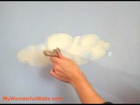 shows you how to paint clouds on a wall or ceiling