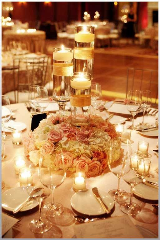 wedding candle centerpieces with flowers - Google Search