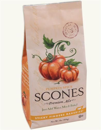"""Sticky Fingers Scone Mix (Pumpkin Spice)  """"Nestled on a saucer against your steamy spice tea, a simple douse of water and 15 minutes invites ten delightfully-crumbly scones to emerge from the oven. A """"pound of pleasure"""" is freshly mixed in a Spokane bakery kitchen."""