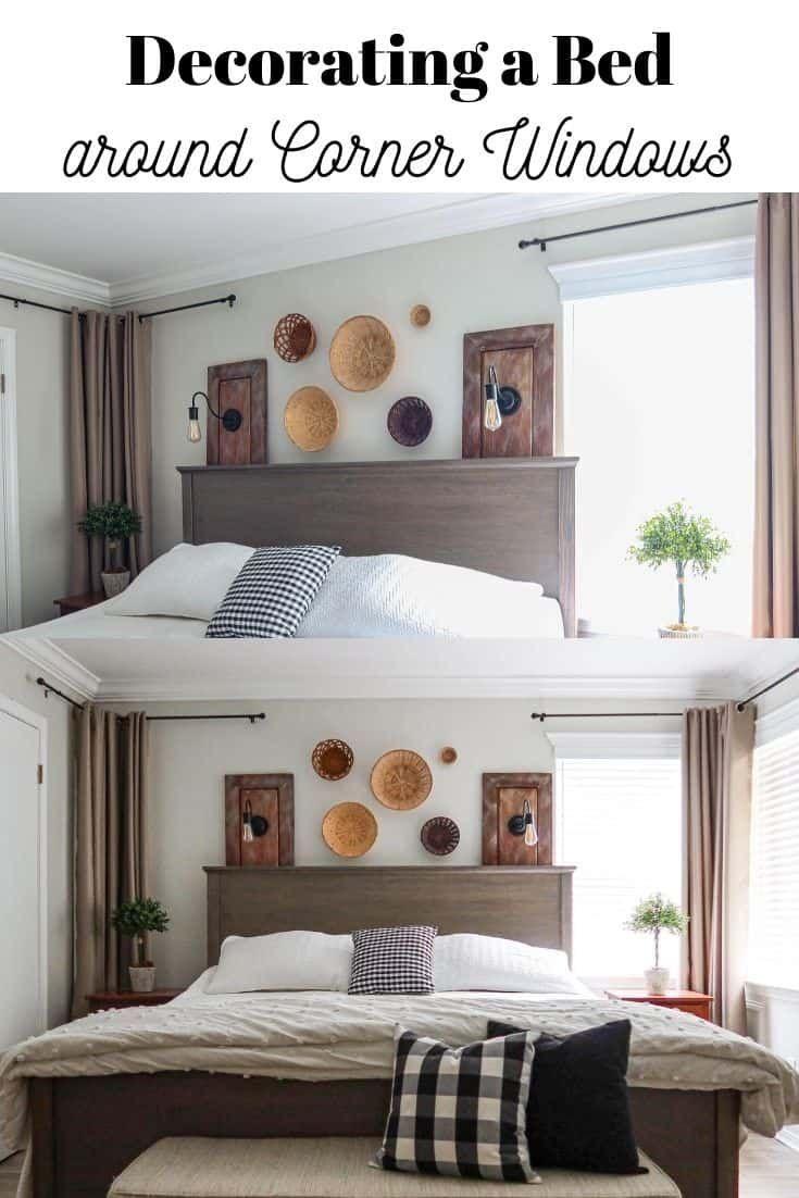 Placing Our Bed In Front Of Corner Windows Master Bedrooms Decor Bedroom Corner Corner Window Front bedroom window design