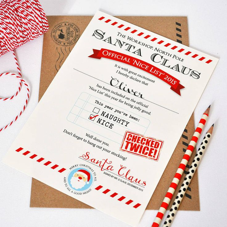 Personalised Santa Letter 'Nice List'. Perfect for your children, nieces, nephews, godchildren and grandchildren - our personalised certificates are handwritten as if from Santa Claus himself. Perfect for your child's bedroom wall or for them to frame as a keepsake. Make this Christmas magical with our exclusive Santa certificates.