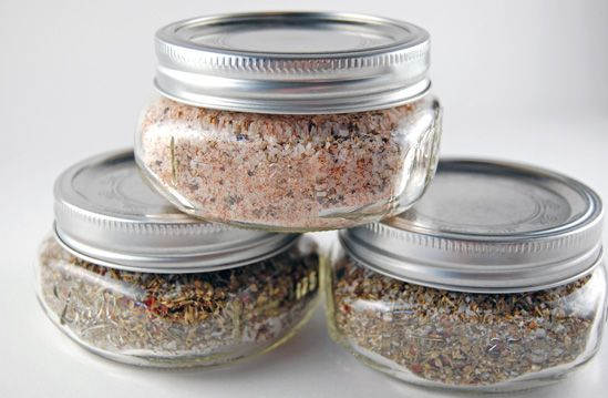 "Homemade Seasoned Salt or Italian Herb Salt--so easy! I made these for neighbors, friends & co-workers for Christmas & tied a fat sparkly ribbon around the jars with a tag that said ""Season's Greetings!"" ;o)"