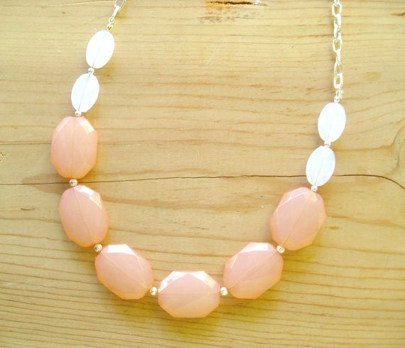 Peach Coral long and white statement necklace by ThatsmineBoutique, $26.00