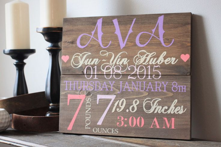 Handpainted Birth Details Wood Sign on reclaimed wood showing height, weight, birth date and time, full name.  Can be done in any colour combination.   City and the Sticks Designs