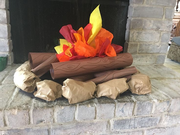 Paper Campfire Craft. Construction paper logs, tissue paper fire and lunch bag rocks.