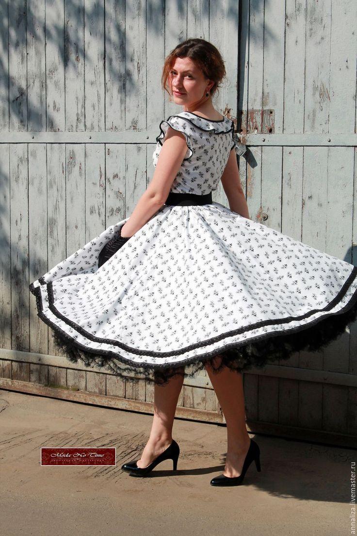 """Купить Платье в стиле 50-х """"Черно-белое кино"""" - летнее платье, платье летнее"""