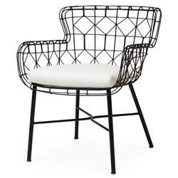 Chloe Modern Classic Salt Black Steel Outdoor Arm Chair | Kathy Kuo Home