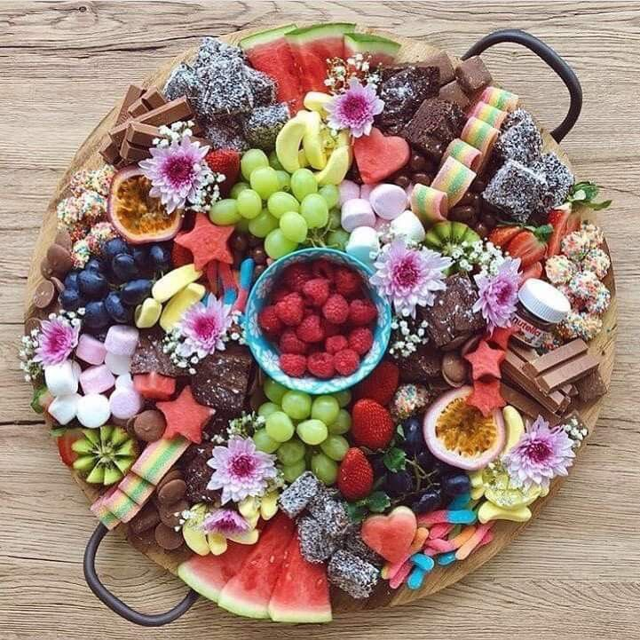 Beautiful fruit and sweets tray