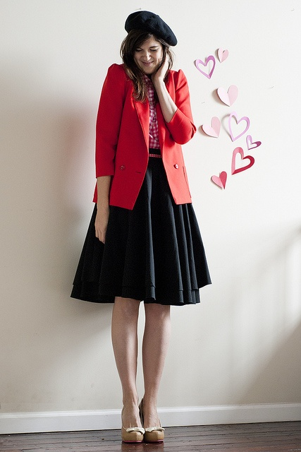 nude heels + black skirt + pink gingham shirt + red blazer