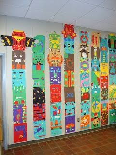 Elementary Art -- Totem Poles -- The big word for this project was stylize. We learned that some artists stylize their work by changing shapes, colors, etc. in order to give their work their own personal touch. Each student created one stylized animal in the style of a real totem pole