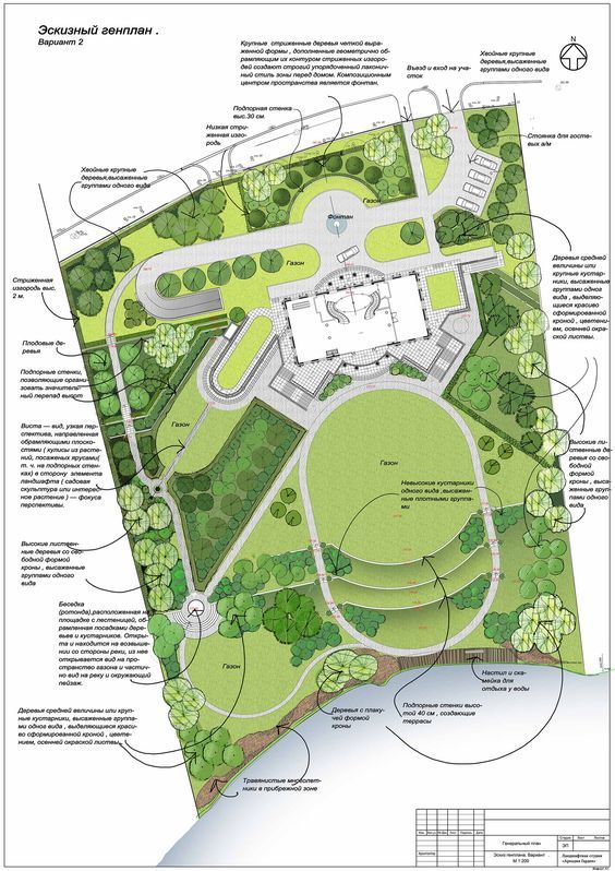 Formal Lawn Shapes Around A Classical Villa Landscape SketchLandscape PlansGarden DesignLandscape Architecture