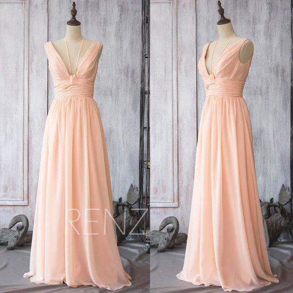 2015 Peach Chiffon Bridesmaid dress Long, Blush Wedding dress, Backless Formal dress,Spaghetti Strap Party dress floor length(F088)-Renzrags