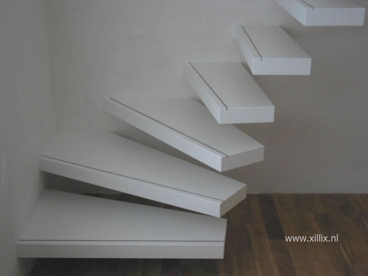 Zwevende trap wit gelakt mdf interieur pinterest trappen en interieur - Model interieur trap ...