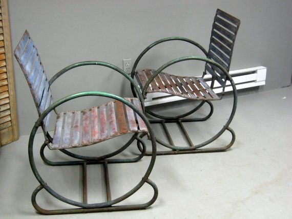 Pair of Art Deco Iron Garden Chairs by stonehousevintage