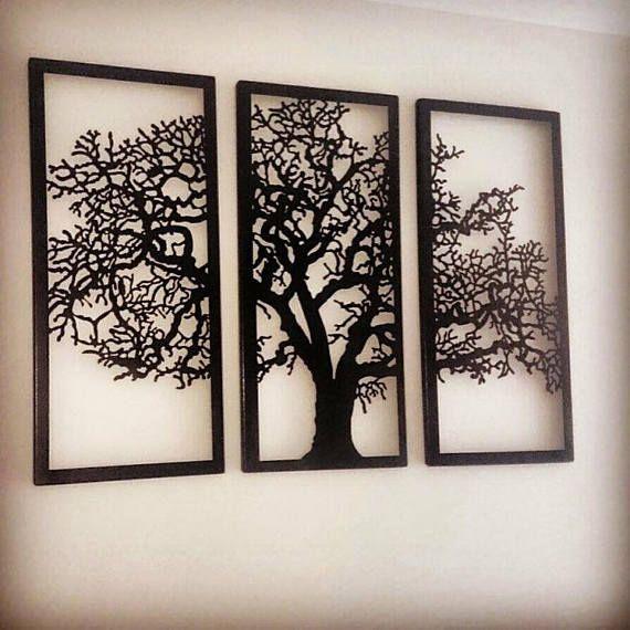 metal wall art decor 3d sculpture 3 piece oak tree modern on metal wall art id=61161