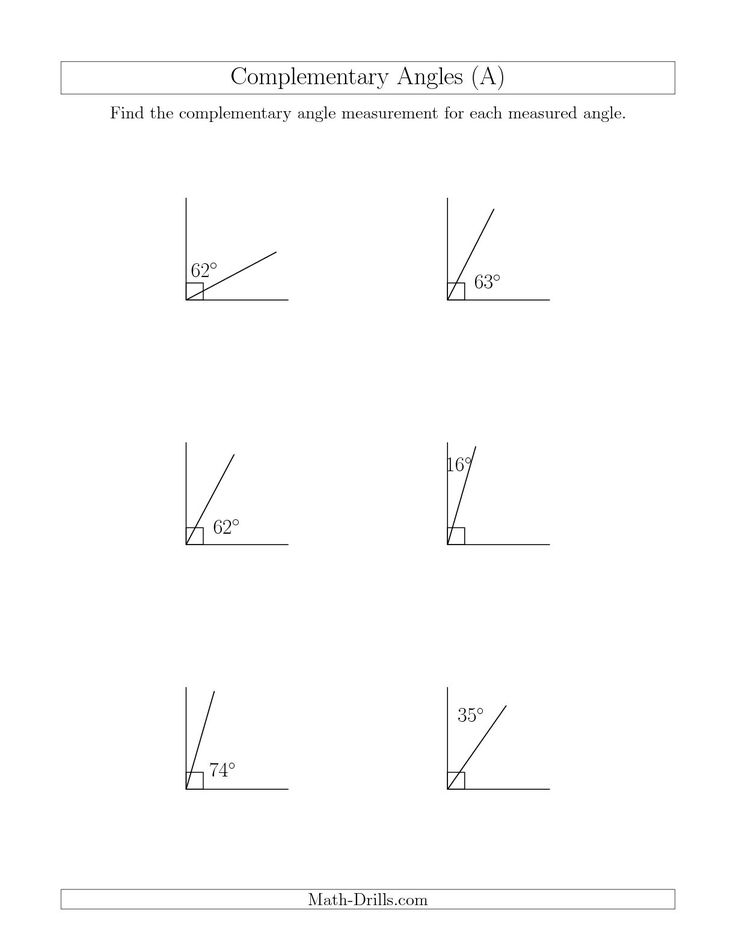 The Complementary Angle Relationships (A) math worksheet from the Geometry Worksheets page at Math-Drills.com.