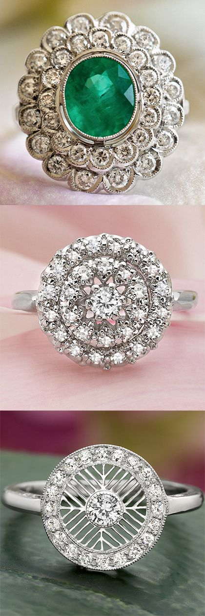 Do you love vintage glamour? Explore our collection of antique engagement rings! // I've pinned that first one before. It's just so pretty...