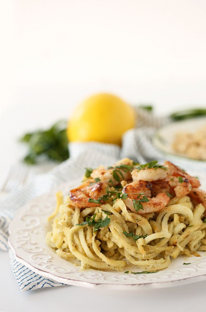 Parsnip Noodles with Lemon-Basil Cashew Cream Sauce and Garlic Shrimp