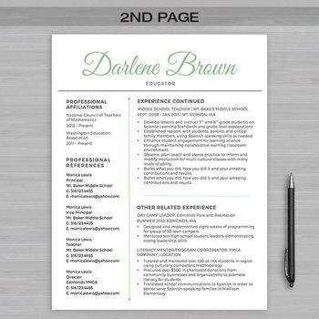 RESUME TEACHER Template For MS Word + Educator Resume Writing Guide - Vscript