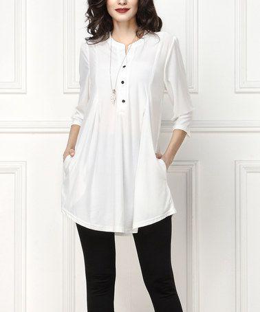 White Notch Neck Button-Front Tunic - Plus Too