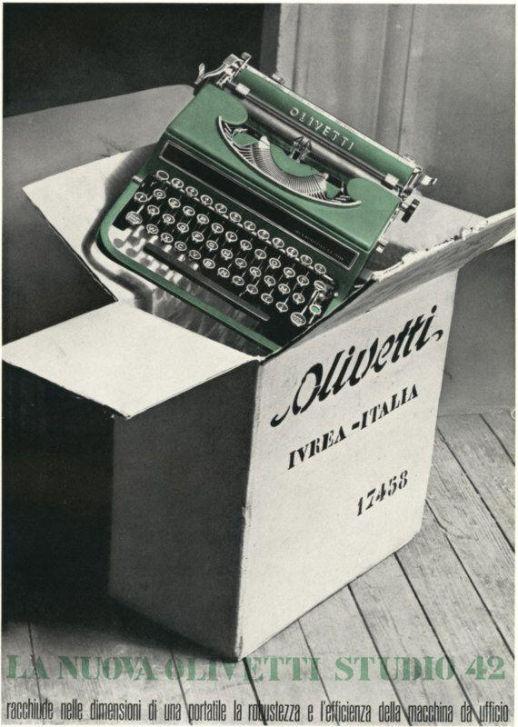 Locandina pubblicitaria disegnata da Costantino Nivola, graphic designer, per la macchina per scrivere portatile Studio 42, progettata da Ottavio Luzzati e presentata nel 1935.