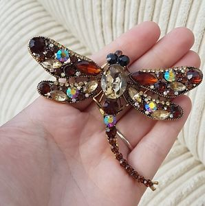 LARGE-JEWELLERY-ORNATE-RHINESTONE-DRAGONFLY-INSECT-BROOCH-SHAWL-PIN-PENDANT