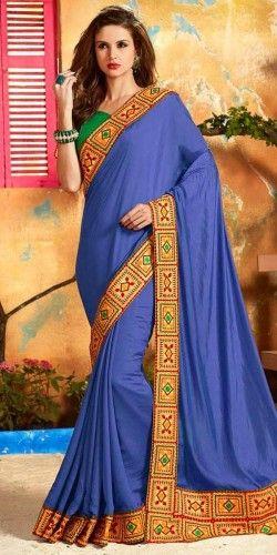 Stunning Navy Blue Jacquard Silk Saree With Blouse.
