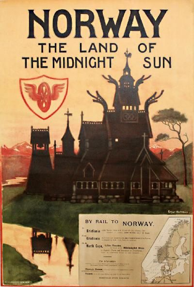 travel to norway poster | PosterTeam.com - Large Poster Photo: Norway - the land of the midnight ...