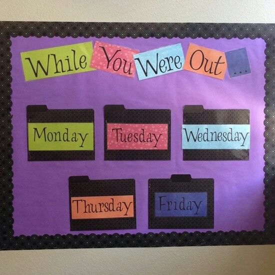 While You Were Out. maybe just a big binder instead of a whole bulletin board