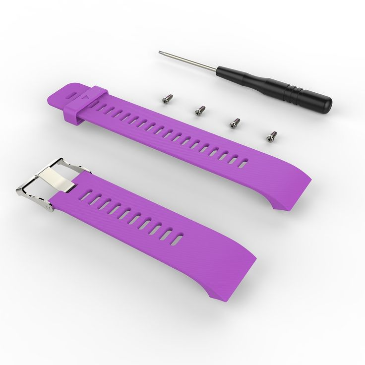 Wearable4U Soft Adjustable Silicone Replacement Watch Band for Garmin Forerunner 35 watch (Violet). Compatible with Garmin Forerunner 35 Sport Watch;. The size can be adjusted according to the circumstance of individual wrist;. Material: Silicone, Wrist Size: 15cm-21cm;. Softness is moderate, wear very comfortable. Compression molding, sturdy and durable;. In the box: 1 x Colored Silicone Band, 2 x Screwdrivers,4 x Replacement Screws;.