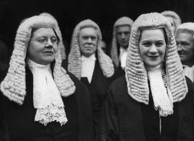 Mrs Helena Normanton (L) and Mrs Rose Heilbron (R). In 1924 Helena Normanton, the first female barrister in England, succeeded in getting the British Foreign Office to issue her a passport in her maiden name.