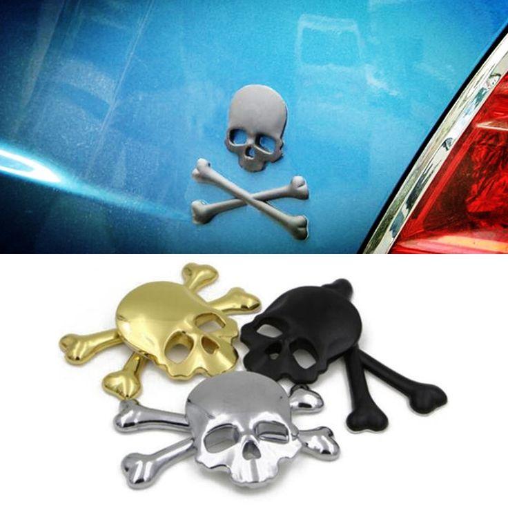 For Ford Fiesta Focus 2 3 4 Ecosport Kuga Escape 3D Metal Skeleton Crossbones Car Motorcycle Sticker Label Skull Emblem Badge