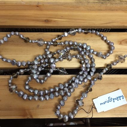 Pearl and Crystal Lariat by Moris&Poppy. $50