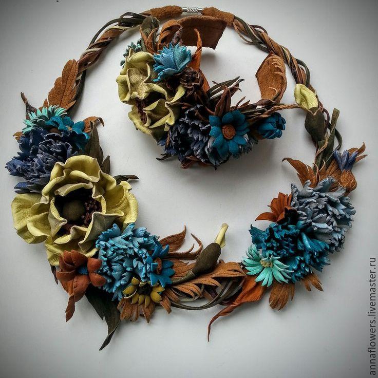 """Купить РЕЗЕРВ Колье и браслет из кожи """" Полевые цветы по осеннему """" - коричневый"""