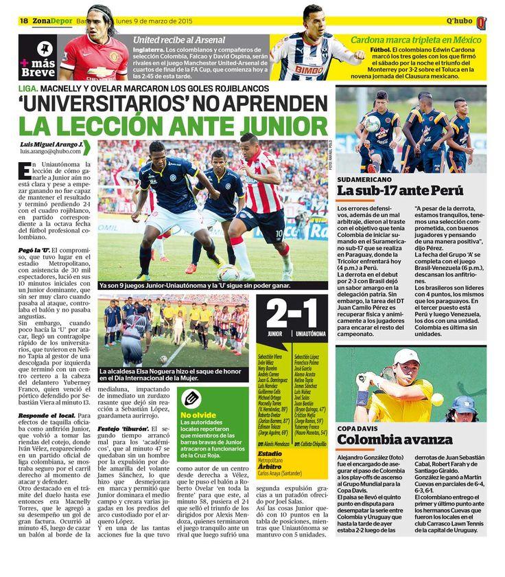 'Universitarios' no aprenden la lección ante Junior. Textos: Luis Miguel Arango J. Empresa: Q'hubo Barranquilla.