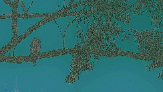 Dark Blue Green Kookaburra on Branch by BlackbirdArtDesign on Etsy, $35.00