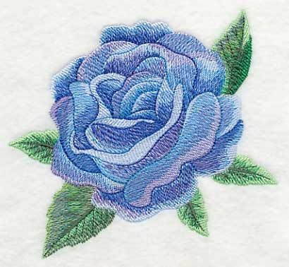 Watercolor Blue Rose Bloom design (L9162) from www.Emblibrary.com
