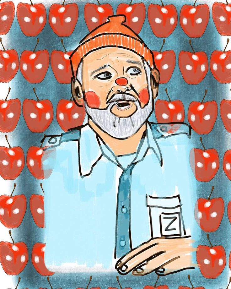 """Bill Murray as Steve Zissou  Ali Lamontagne Illustration (@alilamontagneillustration) on Instagram: """"Steve Zissou. Another quirky ode to the great Wes Anderson. """""""