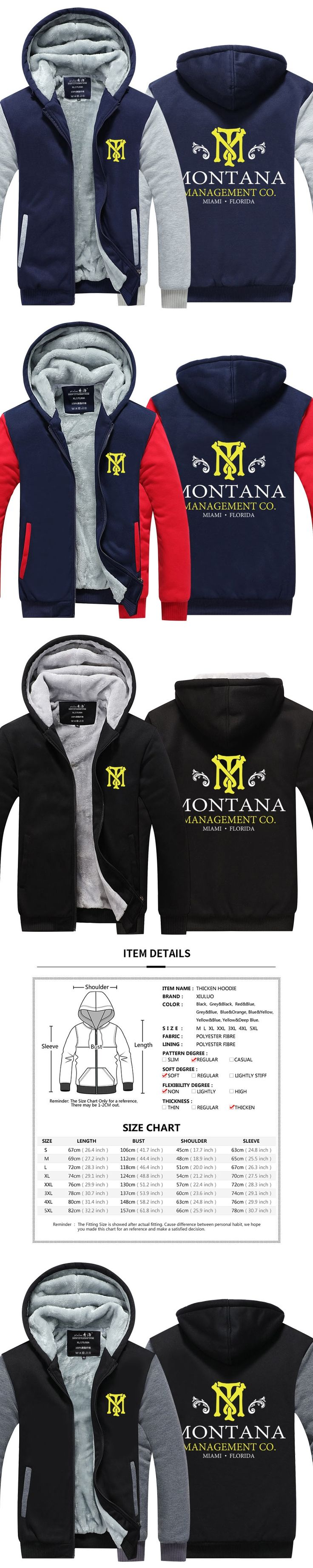 2016 New arrived Mens hoodie Scarface Thicken Fleece Tony Montana Winter Coat US EU Plus Size