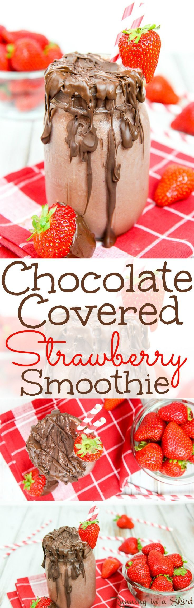 5 Ingredient Healthy Chocolate Covered Strawberry smoothie recipe.  Vegan, gluten free and vegetarian smoothie for any meal including breakfast or even dessert!  Great for a healthy Valentine's Day treats. / Running in a Skirt
