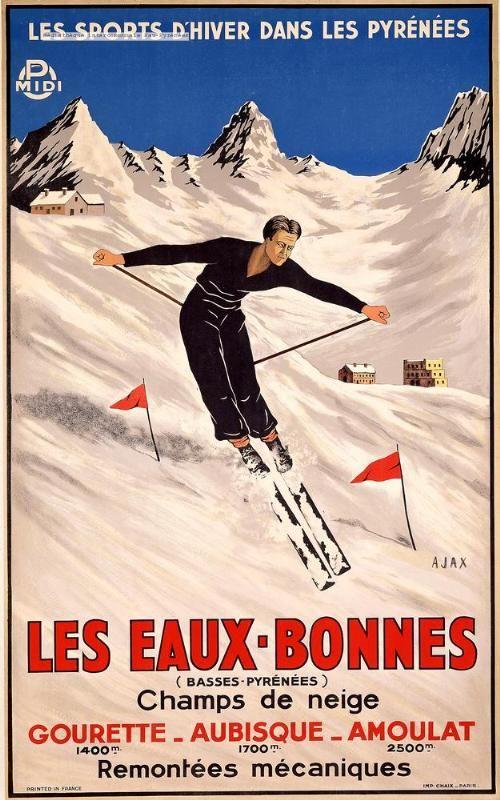 Les Sports d'hiver dans les Pyrénées : Les Eaux-Bonnes - champs de neige - Gourette, Aubisque, Amoulat - France -