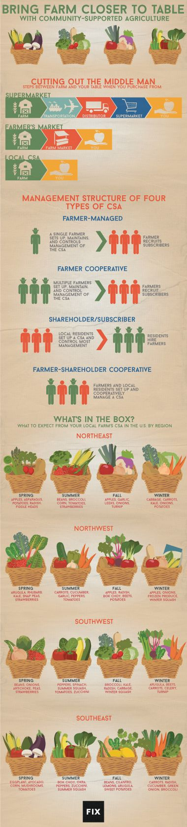 Community-supported agriculture is the healthiest, greenest form of shopping around. Support your local farmers and get farm-fresh food delivered right to your door.