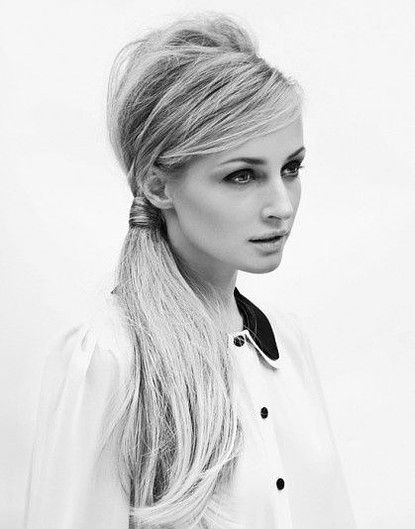 Give yourself a deep side part and tease the crown of your head for a retro side ponytail that will give even Brigitte Bardot hair envy.