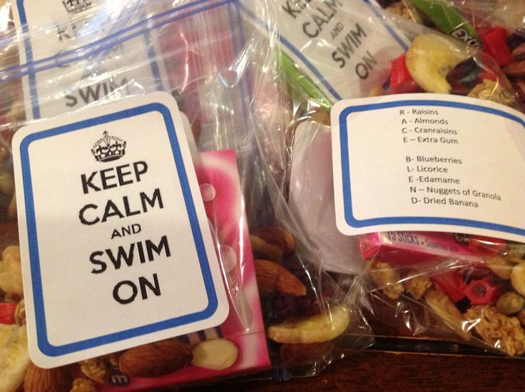 "Fun swim team treats for meet!  Made ""race Blend"" trail mix with the ingredients spelling it out! They were a hit with the kids."